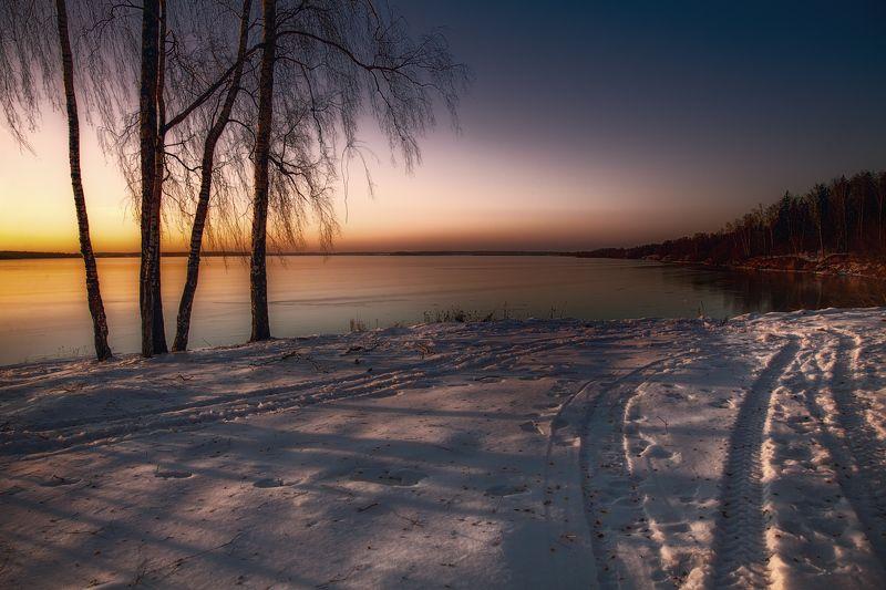 зима, вечер, закат Зимним вечеромphoto preview