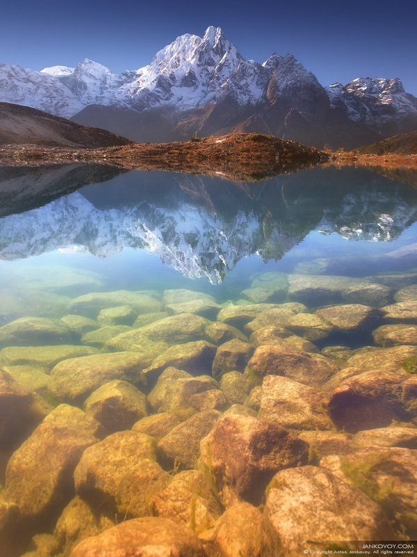 Непал, горы, озеро, Манаслу, Бимтанг, камни, отражение, Гималаи, треккинг HEAVEN IS MYTH, NEPAL IS REALphoto preview
