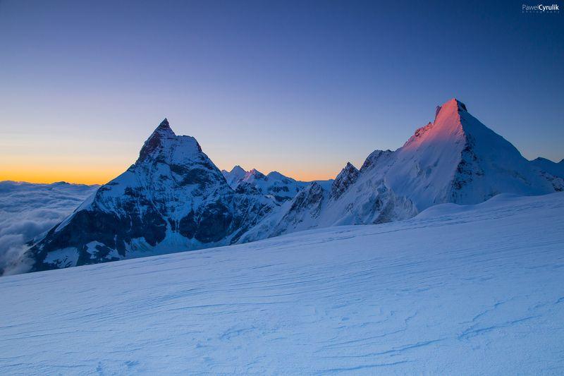 Alps, mountain, Sunset Matterhorn & Dent d\'Hérensphoto preview