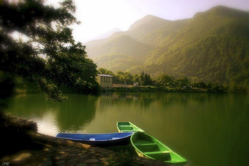 горы утро озеро Утро на озере.photo preview