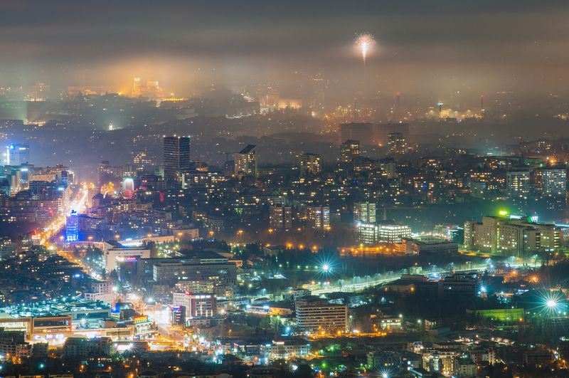 night, city, light, architecture, fog Праздничная Софияphoto preview
