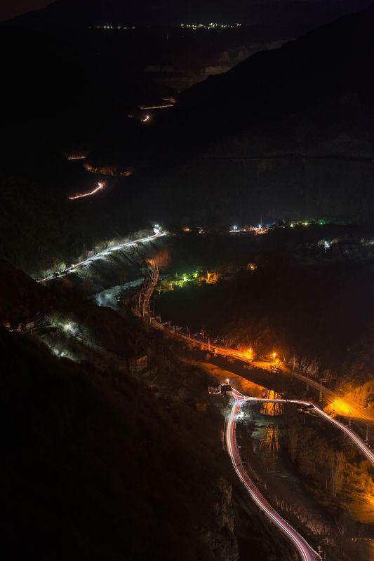 night, traffic, car, train, trails, mountain, landscape, nature, city, travel Night trafficphoto preview