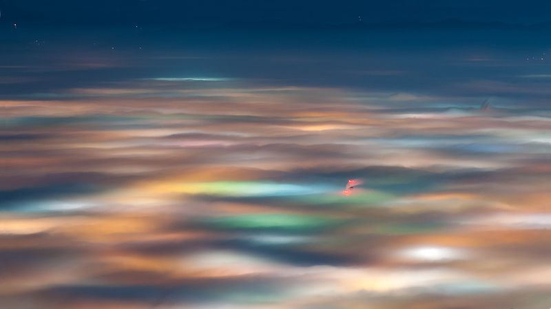 night, fog, foggy, landscape, mountain, colors, lights, city София...photo preview