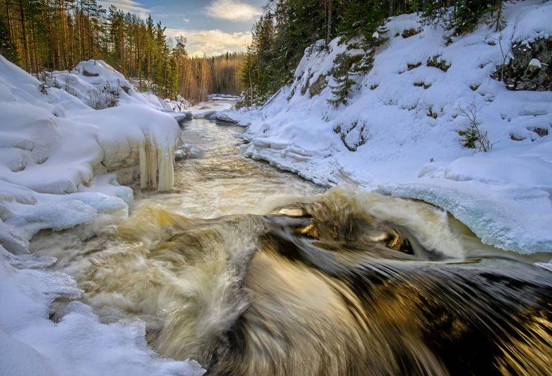 кивач, карелия, водопад Кивач. Золото закатаphoto preview