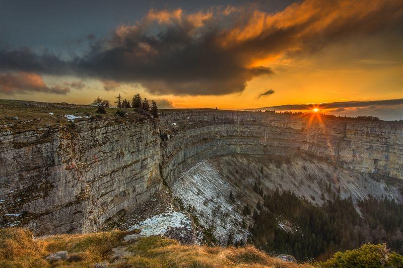 switzerland,canyon,creux du van,sunset,rocks,travel evening in creux du vanphoto preview