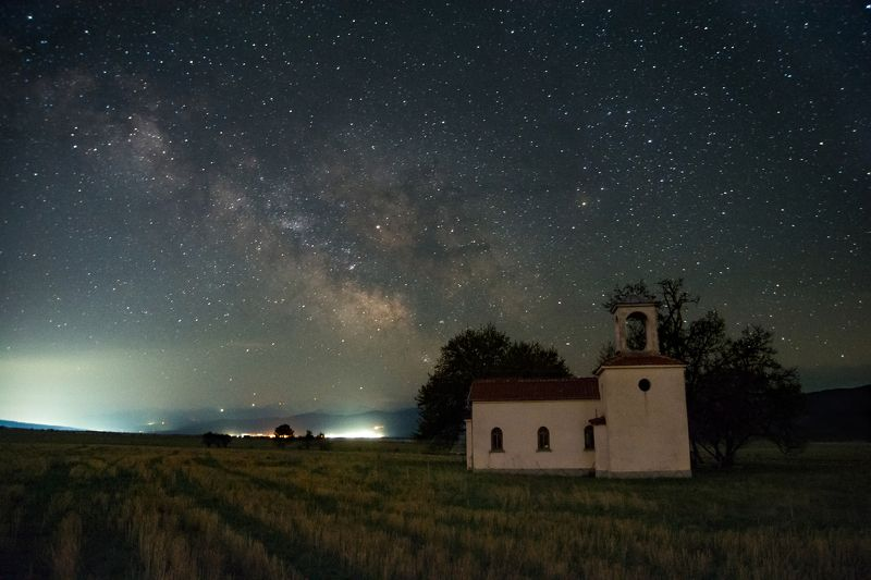 Milky Way, star, sky, landscape, church, tree, night, light Milky Wayphoto preview