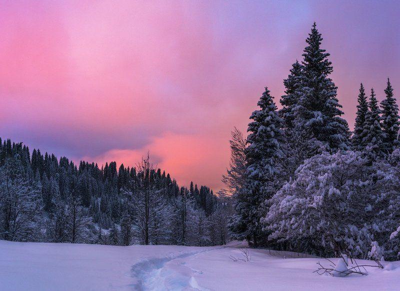 кимасар, вечер,зима, закат Вечер в ущелье Кимасарphoto preview