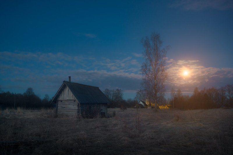 ночь, луна, деревня, полнолуние, дом, берёза, весна Майская ночьphoto preview