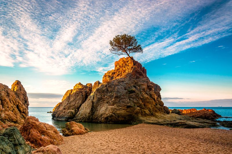 tossa de mar, costa brava, spain, sea, beach, down, seashore, тосса де мар, утро, пляж, скалы, рассвет, испания, коста брава Tossa de Mar после рассвета..photo preview