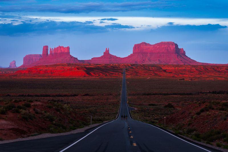 долина, монументов, юта, сша, рассвет, дорога, горы Дорога Форреста Гампаphoto preview