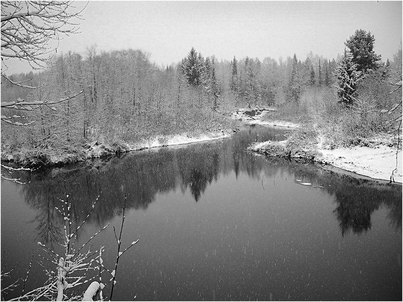 пейзаж,река,осень,снег,октябрь Первый снег октябряphoto preview