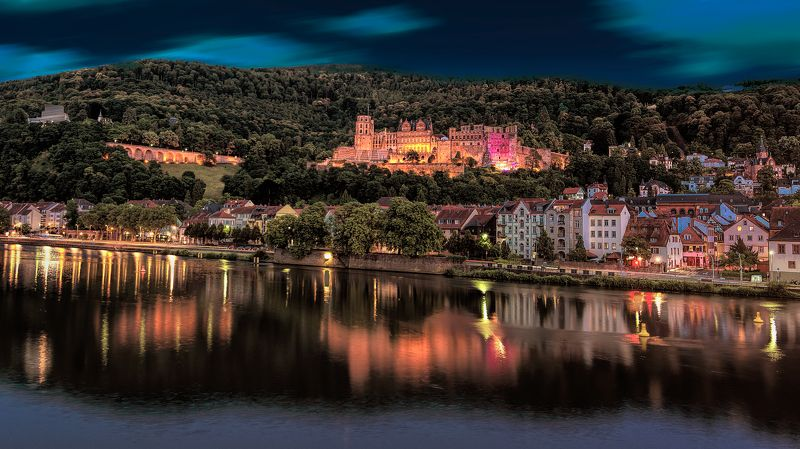 heidelberg, night city, germany, night river Night Heidelberg.photo preview