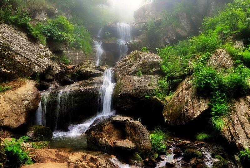 горы, река, водопад Водопад.photo preview
