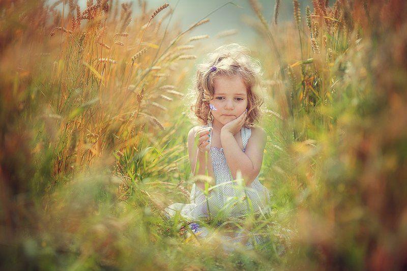 ребенок, грусть, лето, пшеница Грустьphoto preview