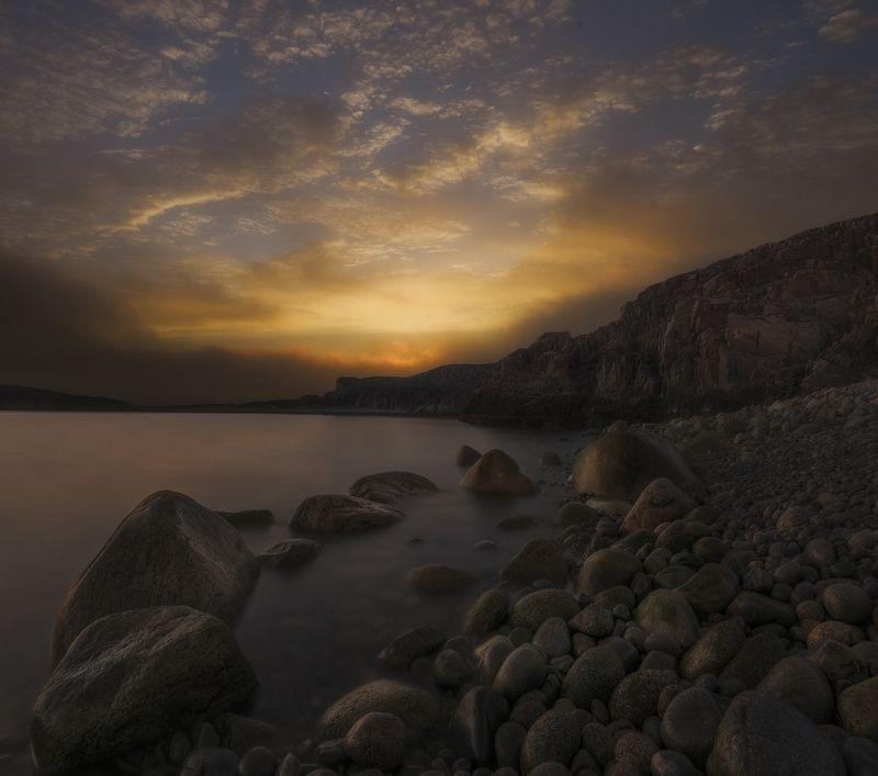 Рассвет, море, dawning light, Кольский полуостров, Баренцево море, Barents sea Incipient light of dayphoto preview