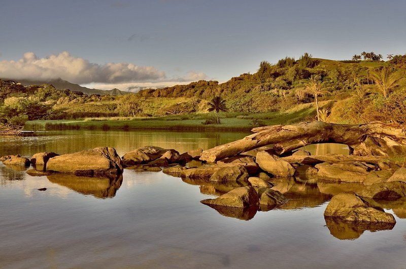 пейзаж, камни, утро, озеро Утреннееphoto preview