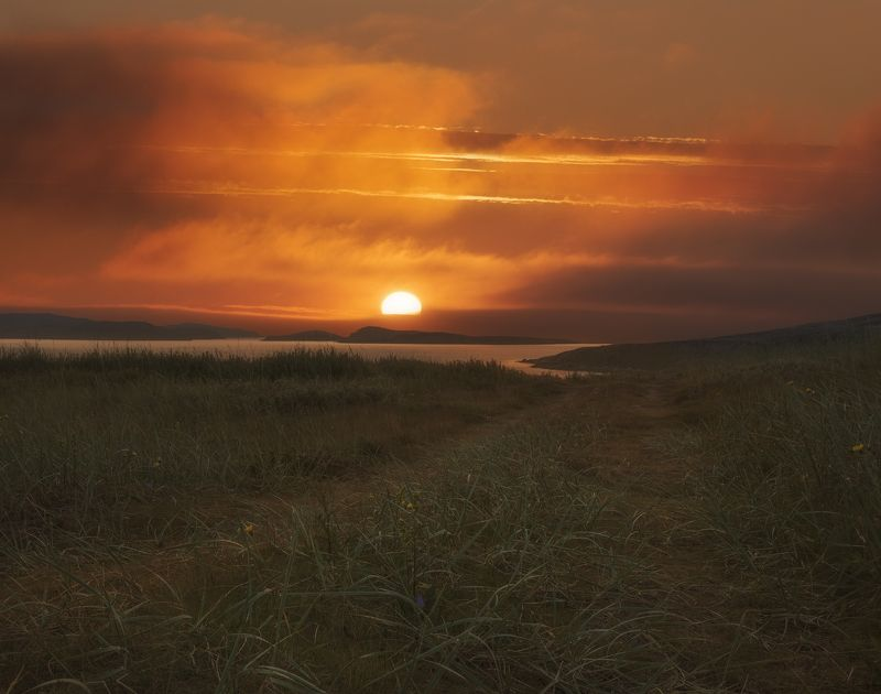 закат, Дальние Зеленцы, Кольский полуостров Дорога к солнцуphoto preview