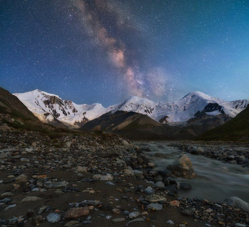 баянкол, ночь, звезды, ночное небо, пик казахстан, пик баянкол, тянь-шань, мраморная стена Ночь в ущелье Баянколphoto preview