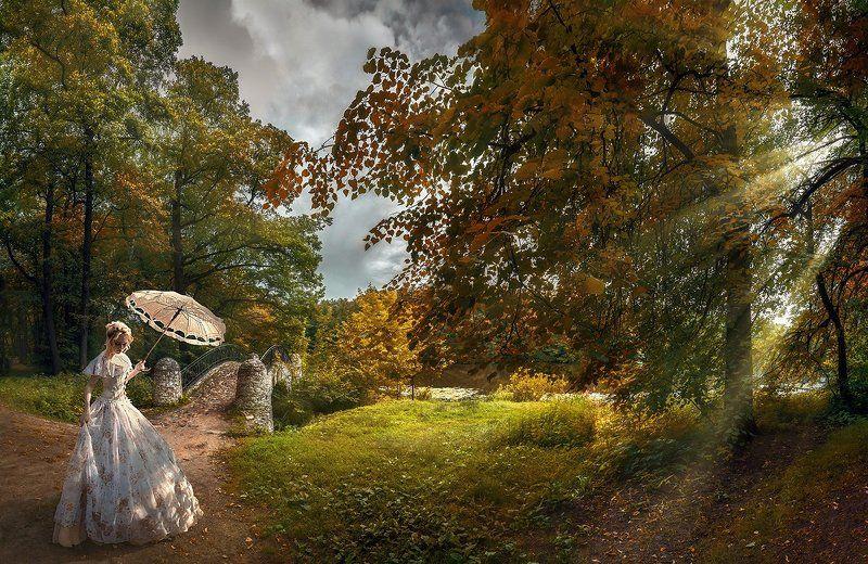 осень, лучи, солнце, мостик, парк, зонтик, прогулка Завтра осень...photo preview