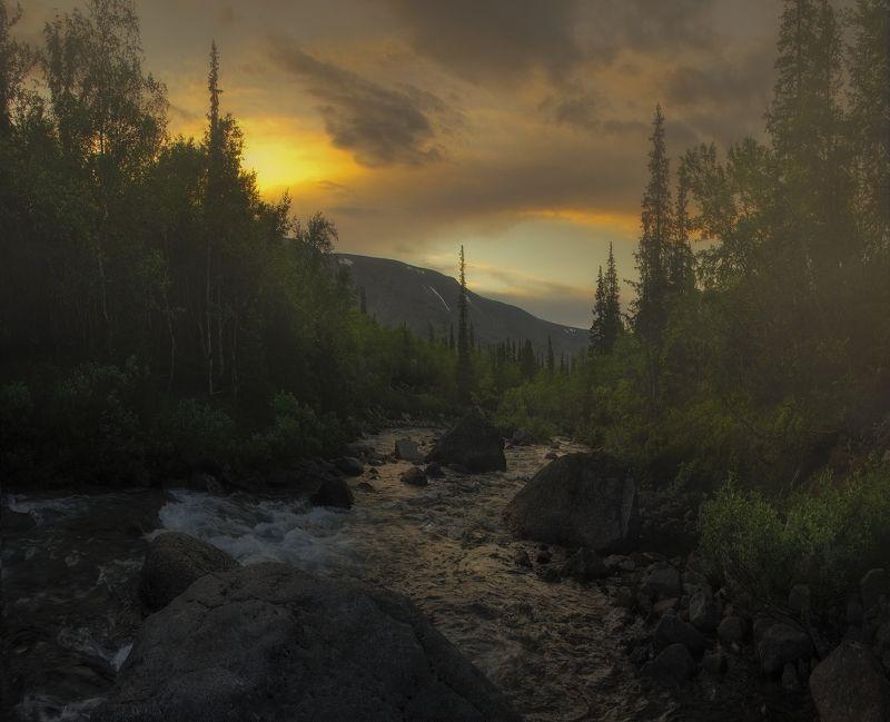 at the of August, Khibiny, Хибины, закат Волшебство закатаphoto preview