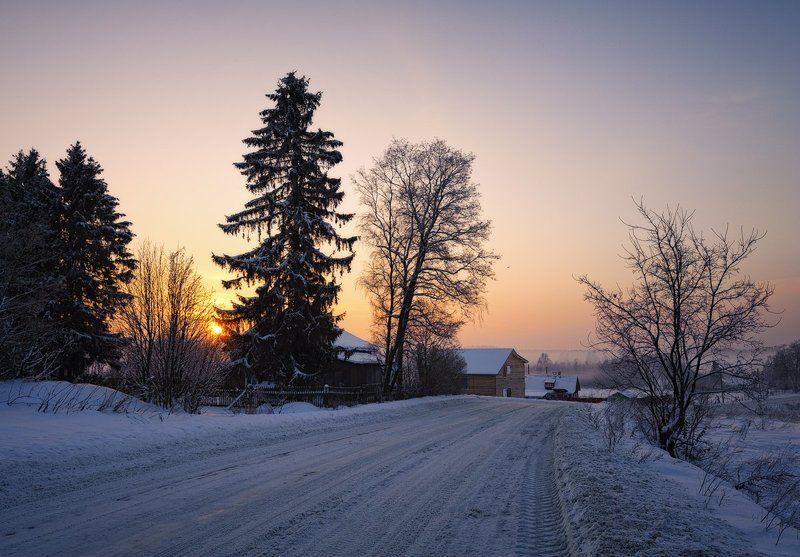 зима,вечер,закат,дорога,туман,свет,пейзаж Дорога в розовый закатphoto preview