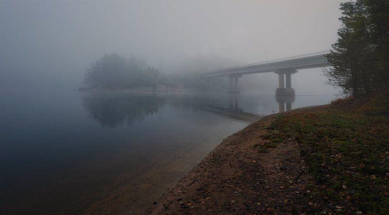 утро,туман,река,берега,пейзаж Речные берега окутаны туманом...photo preview