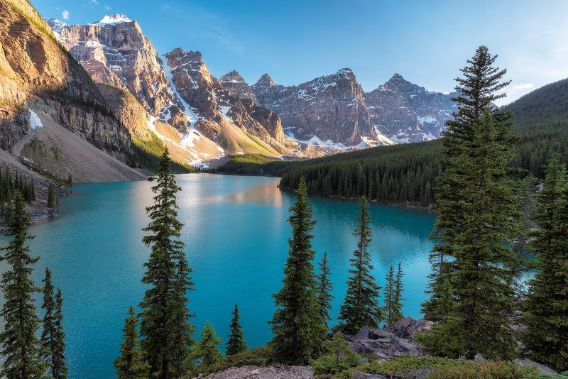 canada, banff, lake, nature, louise, moraine, landscape, scenery, mountain, canadian, rockies, summer, rocky, alberta, scenic, sunrise, hiking, trekking, national, park, calgary,  glacier, water, reflection, travel, forest, turquoise, sky, background, Moraine lakephoto preview