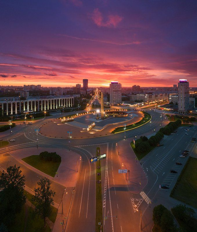 вечер, лето, площадь, победы, закат, панорама, dji Вечерний Петербург. Площадь Победы #1photo preview