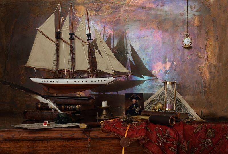 корабль, парус, книги, портрет, часы, адмирал, Нельсон Натюрморт с парусным кораблемphoto preview