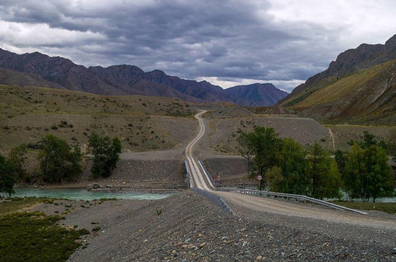 природа алтай пейзаж село дорога инегень мост горы река катунь Дорога на Инегень...photo preview