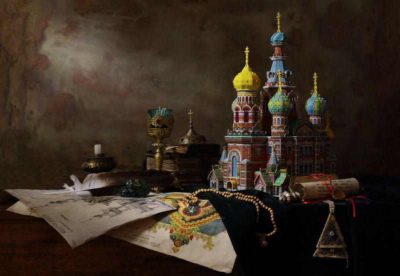 церковь, макет, книги, свеча, архитектура, чертежи, бумаги, свет Натюрморт по мотивам старинной архитектурыphoto preview