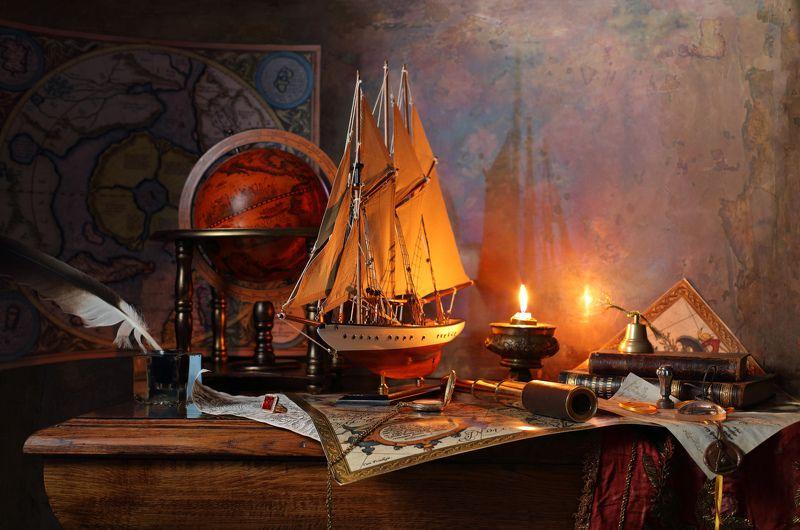 корабль, парус, книги. глобус, карта, Меркатор, свеча, свет Натюрморт с парусным кораблем и картой Меркатораphoto preview