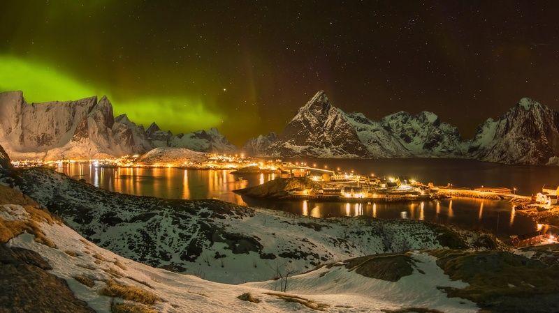 reine,lofotens,norway, рейне, норвегия, aurora , северное сияние, лофотены Ночной Рейнеphoto preview
