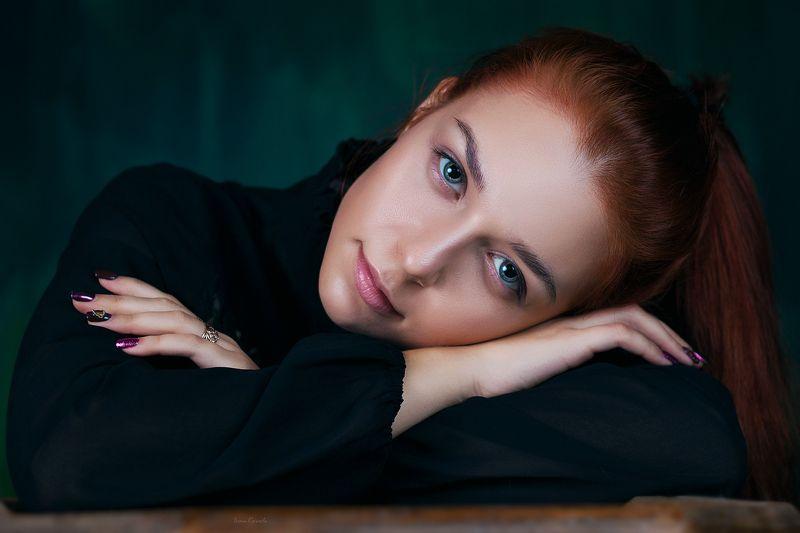 люди, девушка, молодая, портрет, глаза, взгляд, рыжая, фон, текстура, фотокузница, ivankovale Алёнаphoto preview