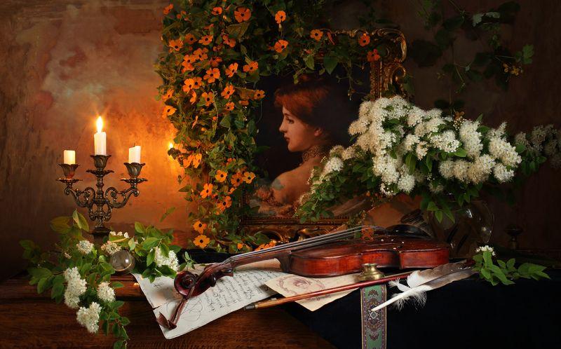скрипка, картина, музыка, свечи, цветы, свет, девушка, портрет, искусство, живопись Натюрморт со скрипкой и картинойphoto preview
