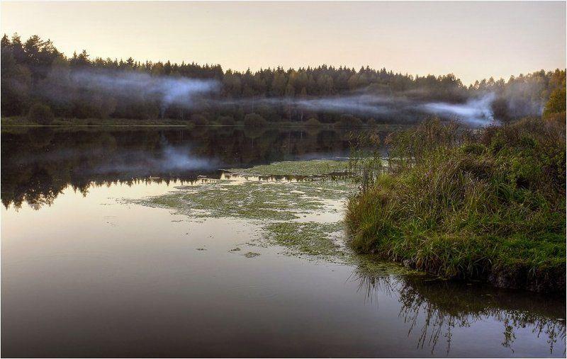 рыбалка, озеро, дым Рыбачки дымятphoto preview