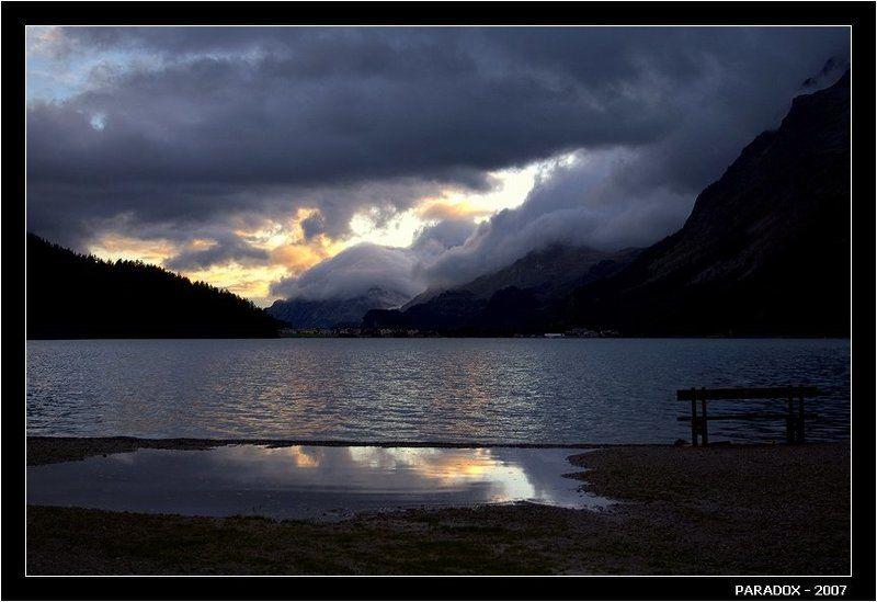 швейцария, сильваплана, silvaplana, вечер, озеро, скамейка, встречи, судьбы, paradox Баллада о вечерней зареphoto preview