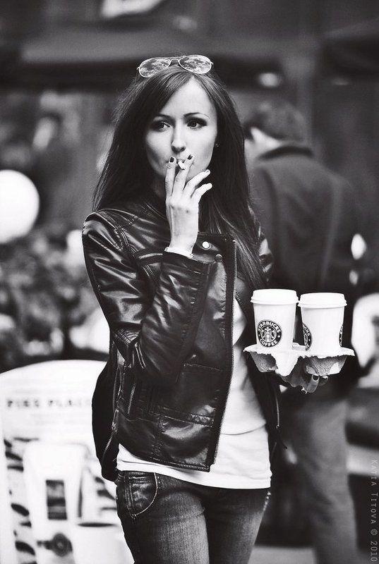 девушка, портрет, кофе, сигарета ...photo preview