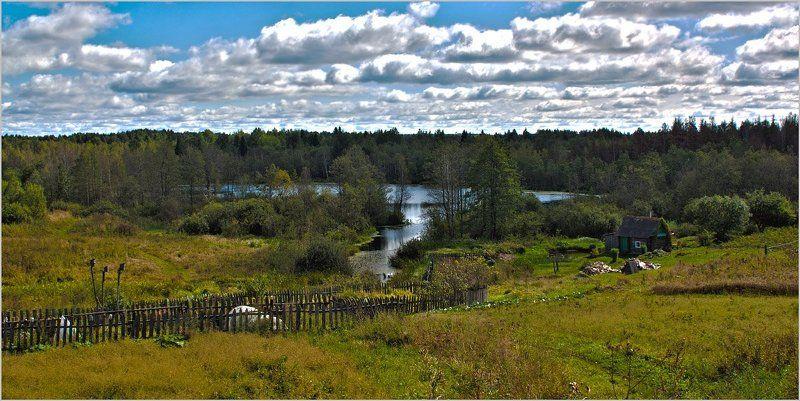 природа , пейзаж , озеро , деревня Где-то в Псковской губернииphoto preview