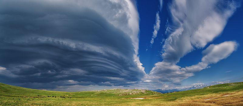 облака, горы, луг, лето, оштен, адыгея, лаго-наки, \