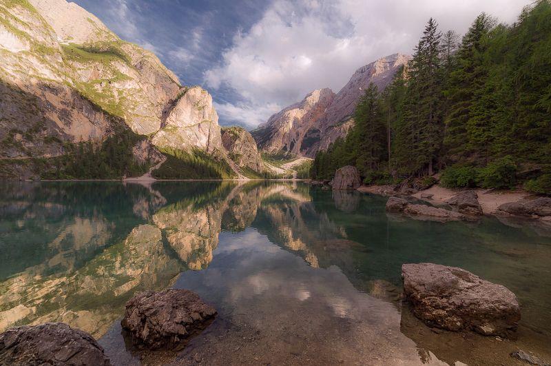брайес, lago di braies, озеро, доломиты, альпы, крода дель бекко, вечер Braiesphoto preview