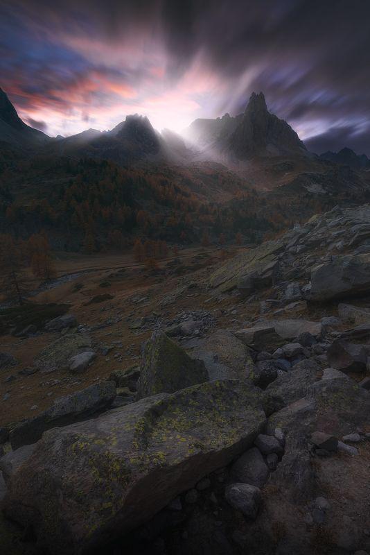 #франция, #france, #alps, #альпы, #горы, #закат, #выдержка, #красивое, #небо, #цвет, #мрачное, #настроение,#атмосфера Val de la Clareephoto preview
