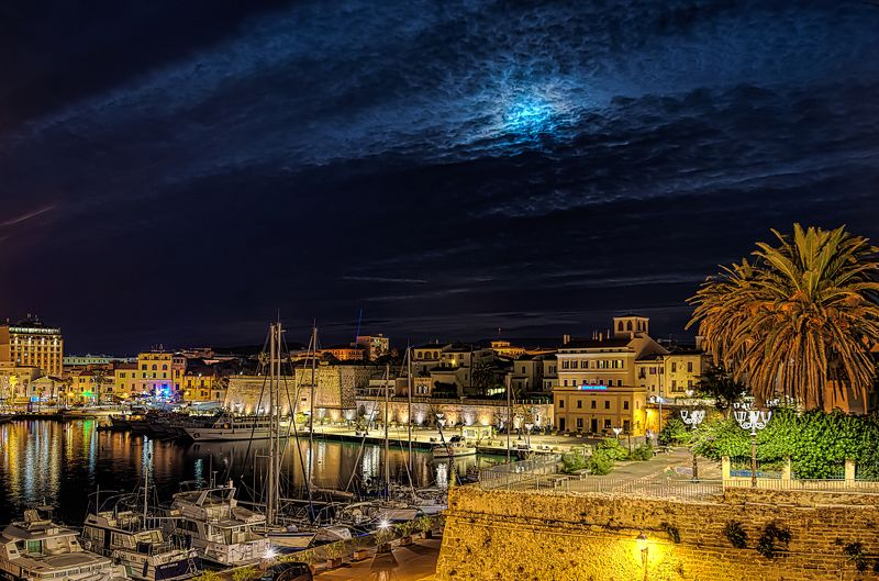 algheroб alghero night, sardinia, marina bay, night marina bay , italy, cityscape,night cityscape Night Alghero marina bayphoto preview