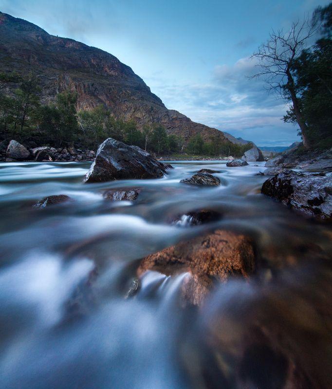 Алтай, пейзаж, природа, выдержка,река, порог, вода Чулышманphoto preview