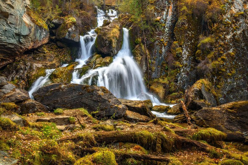 водопад, осень, вода, алтай, waterfall, autumn, water, altai Нижний Карасуphoto preview
