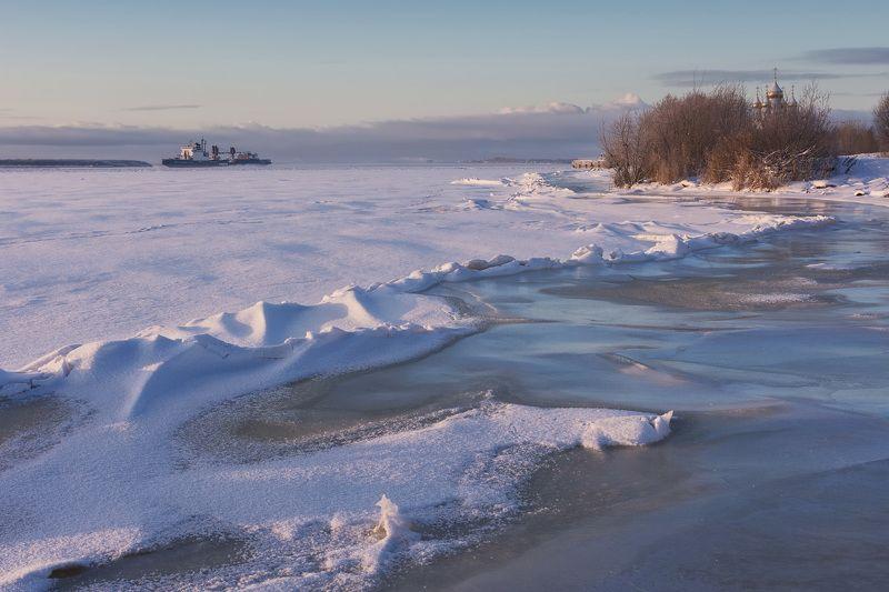 берег снег лед вечер Замерзающий берегphoto preview