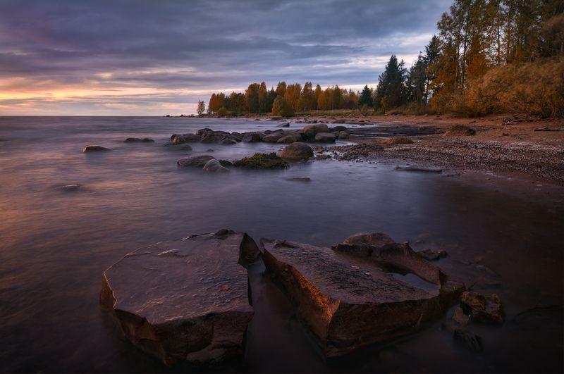 вечер, закат, пейзаж, пейзажное фото, рыбинское море Вечер на старых камняхphoto preview