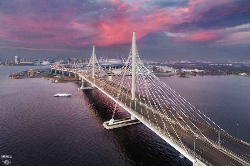 Западный скоростной диаметр, мост через Петровский фарватер, стадион Санкт-Петербургphoto preview