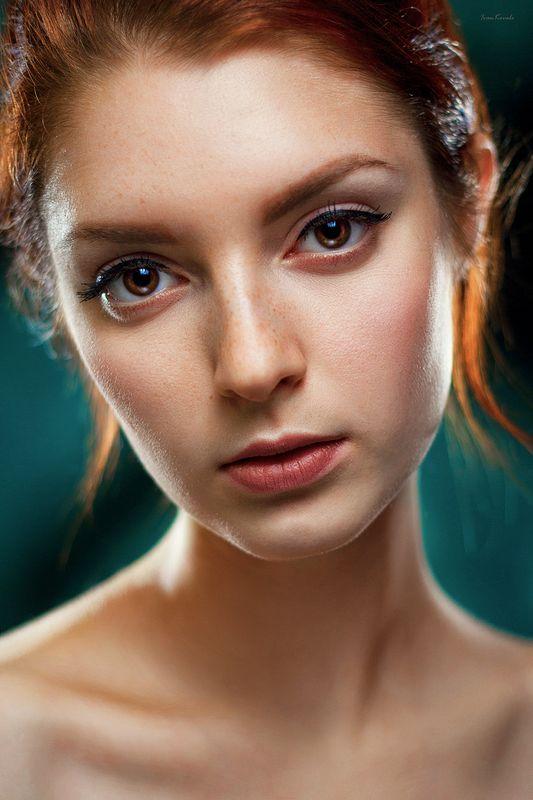 лди, человек, девушка, портрет, молодая, рыжая, теплый, фон, цвет, студия, взгляд, глаза, красота, молодость, фотокузница, ivankovale Ленаphoto preview