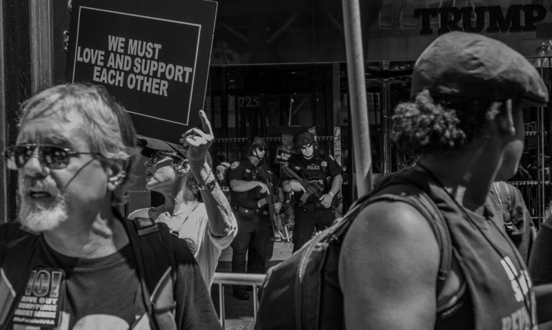 policemen policeman weapon meeting trump people street no paper newspaper protest objection revolt men man beard glasses usa san-francisco  WE MUST LOVE AND SUPPORT EACH OTHERphoto preview